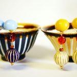 陶芸家 吉野瞬クン「島縞」イメージな、ストライプ玉のピアス&ネックレスをゲット♪