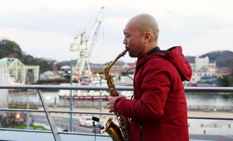 JR尾道駅エキナカコンサート『音楽が日常にある駅』プロサックス奏者 井上フヂヲ LIVE♪