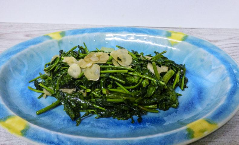 尾道市岩子島『ミーシャンズファーム』、シャキシャキ美味しい空心菜にんにく炒めレシピ♪